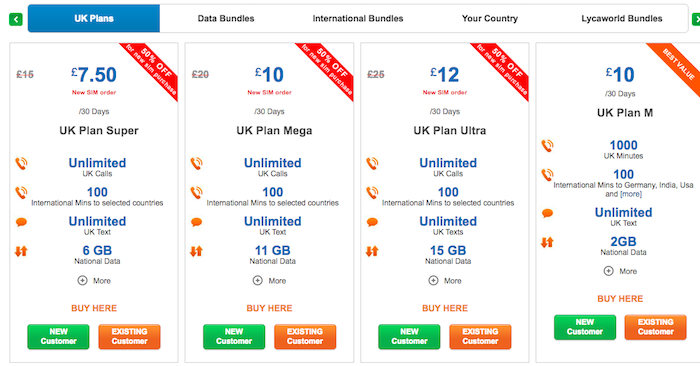 Lycamobile UK All National Bundles | £7 to £50 Plans | 2019