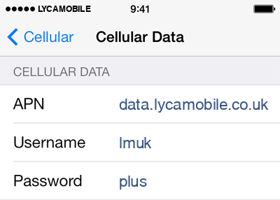 Lycamobile UK APN Settings